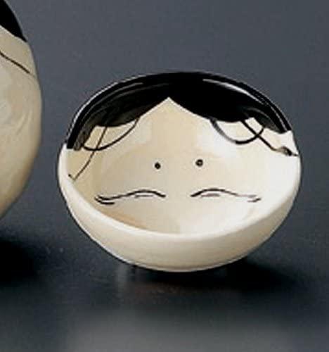 OKAME-CLOWNISH-WOMEN-MASK Tohki Japanese Pottery Set of 5 Sake Cups
