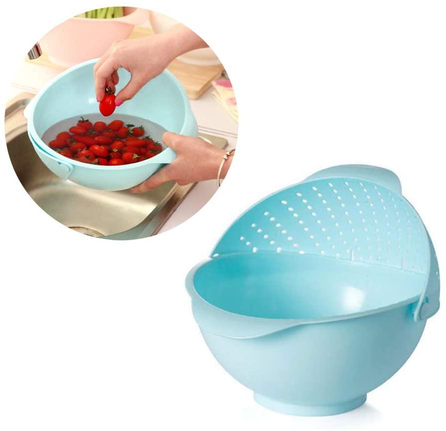 2-IN-1 Multifunction Kitchen Colander/Strainer and Bowl Set, Colander Fruit Baskets, Self-draining for Cleaning Vegetable, Fruits, Pasta, Rice (Blue)
