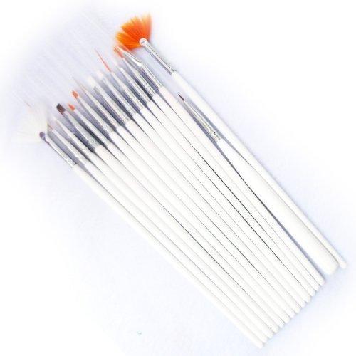 15pcs Nail Art Gel Design Pen Painting Polish Brush Dotting Drawing Tool Set (Mj05) (white)
