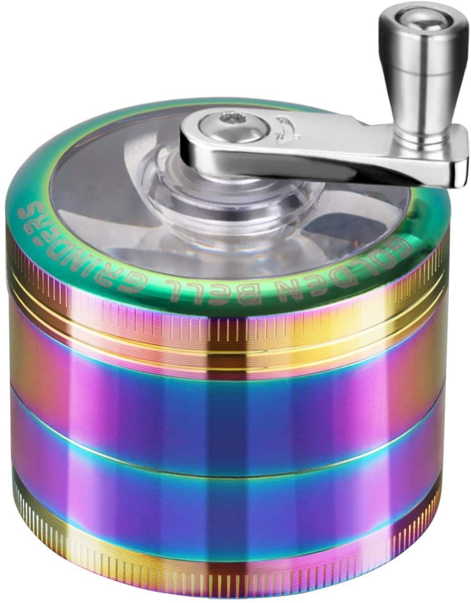 Golden Bell Hand Cranked Spice Herb Grinder, 2 Inch (Rainbow Color)