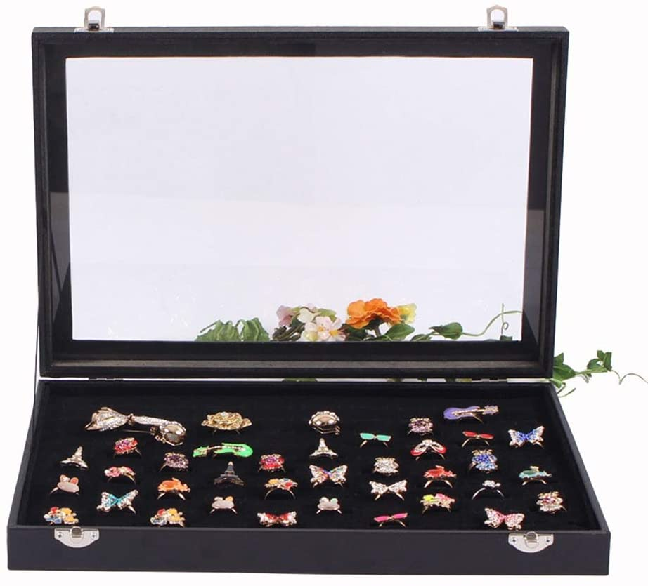 PUEEPDEE Jewelry Box Glass Top Ring Jewelry Display Storage Organizer Showcase Earring Rings Lockable Box Jewelry Box for Girls (Color : Black, Size : 35244.5cm)
