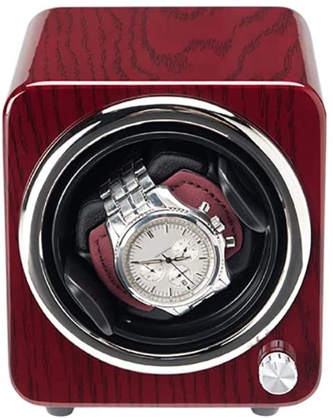 Watch Box, Can Accommodate 1 Automatic Watch, Ultra-Quiet Anti-Magnetic Motor, Soft and Elastic Watch Pillow, Size 12.5 13.5 13.5cm Watch Winder (Color : Red)