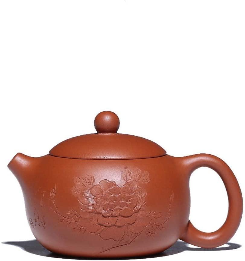 SHENLIJUAN teapot ore Zhuni pure hand-carved peony beauty pot (Color : Purple mud)