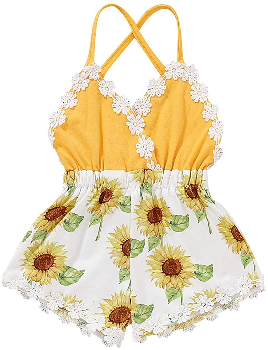 Camidy Baby Toddler Girl Strappy Romper Sunflower Print Sleeveless Jumpsuit Clothes