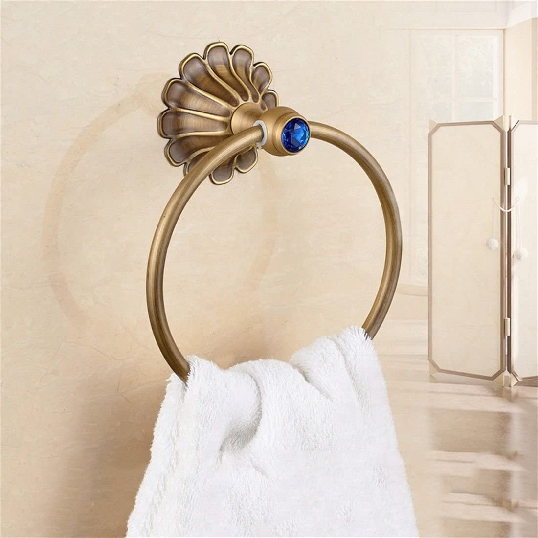 AiRobin-Continental Antique Brass Retro Wall Mounted Towel Ring Bathroom Accessory