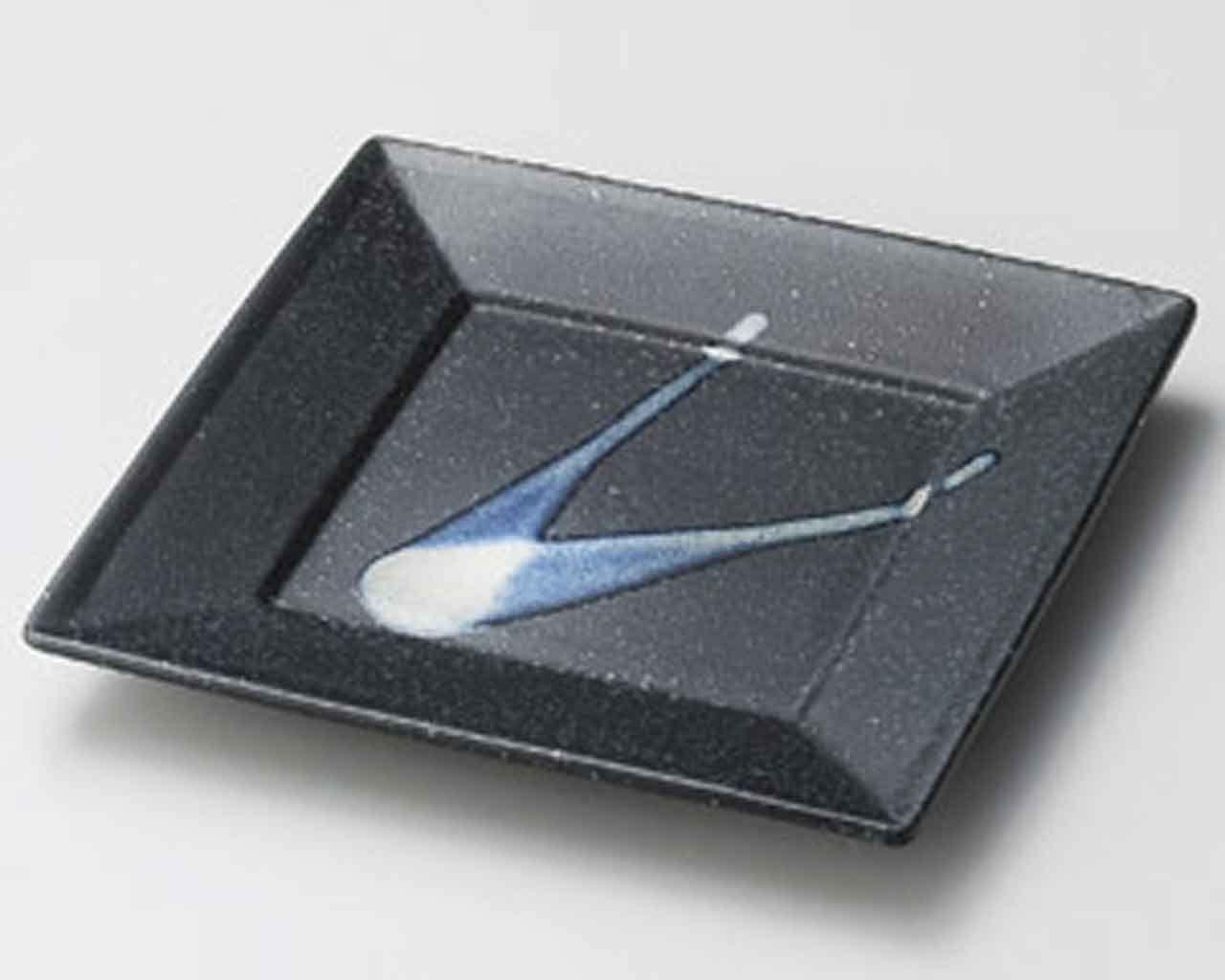 Ginsai 8.5inch Set of 2 Medium Plates Black porcelain Made in Japan