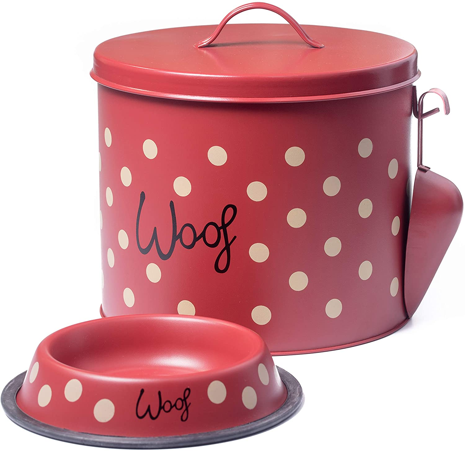 The PetSteel - Red Polka Dot Dog Decorative Canister with Bowl and Scoop   Pet Food and Treat Container Storage Set Red   Airtight Lids   Fit's Up to 10 lbs of Treats or Food