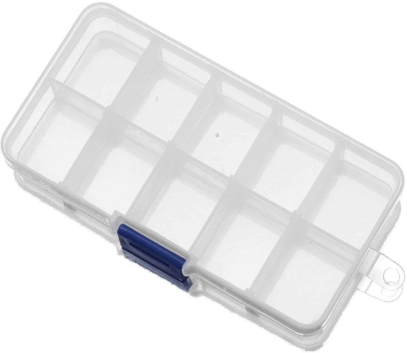 Driak 5PC 10 Grid Transparent Adjustable Plastic Box Metal Parts Storage Jewelry Box