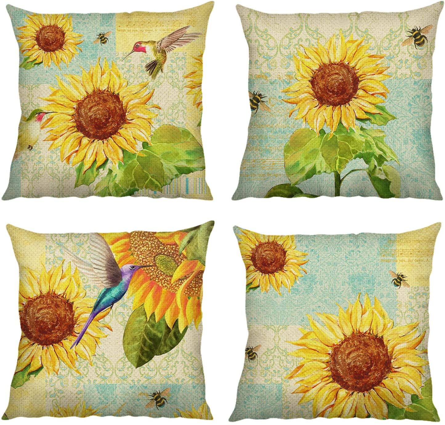 Bonhause Sunflower Throw Pillow Covers 18 x 18 Inch Set of 4 Bird Bees Decorative Throw Pillow Cases Cotton Linen Square Cushion Covers for Sofa Couch Car Bedroom Home Décor