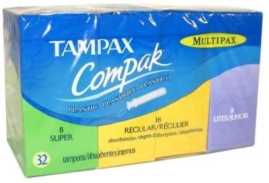 Tampax Compak Multipax, 8 Super, 16 Regular and 8 Lites ~ 32 tampons