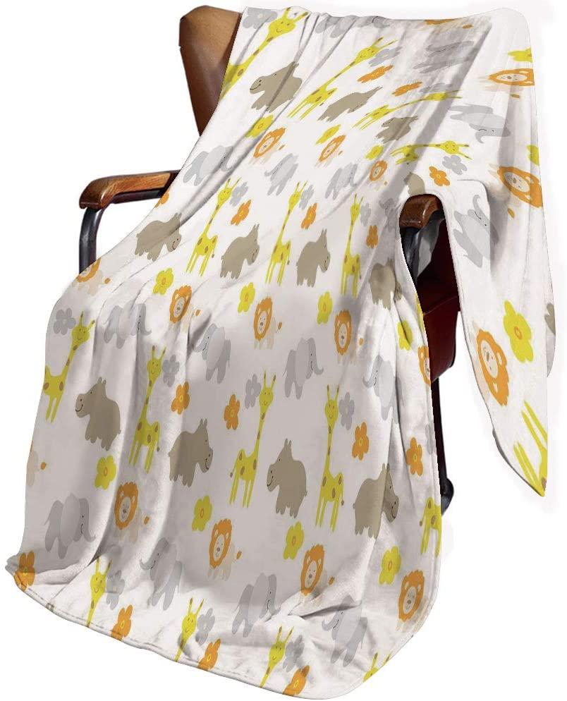 SfeatrutMAT Flannel Microfiber Throw Blanket,Nursery,Baby Jungle Animals Elephants Lions Giraffes Hippopotamuses Nature Inspired Design,Blanket for Baby 30x40inch
