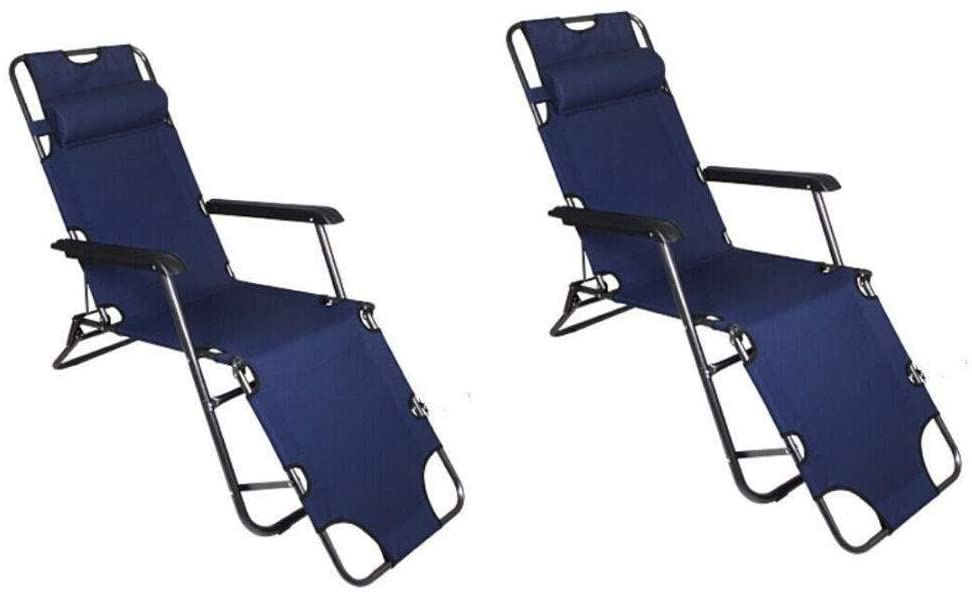 Tll-mm Set of 2 Folding Reclining Sun Lounger,Outdoor Garden Beach Folding Chair Single Folding Simple Recliner Bed for Patio,Conservatory or Deck Chair (Color : Navy Blue)