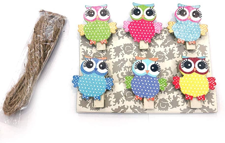 Clips 6 Pcs/Set Cartoon Craft Photo Clip with Hemp Rope Cute School Paper Owl Binding Supplies DIY Mini Wooden Clip Office