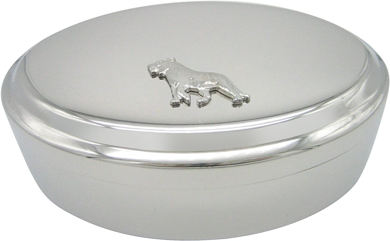 Silver Toned Tiger Pendant Oval Trinket Jewelry Box