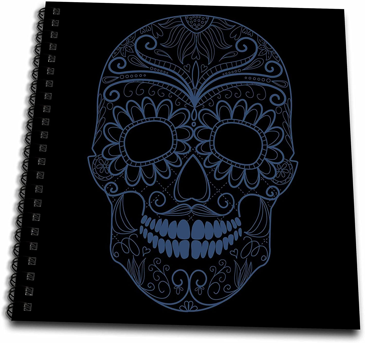 3dRose db_130487_1 Blue and Black Sugar Skull Day of The Dead Art-Drawing Book, 8 by 8-Inch