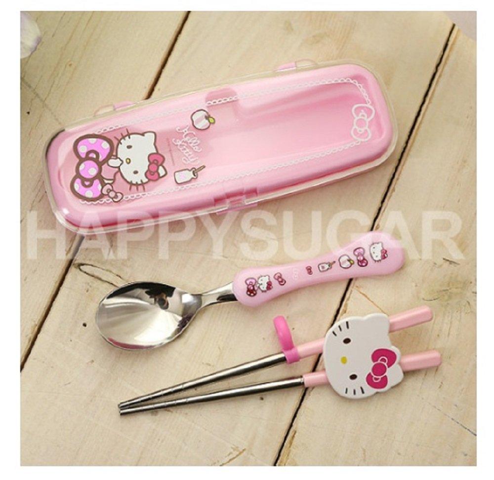 Hello Kitty Toddler Utensils Stainless Spoon & Chopsticks & Case Set - Pink