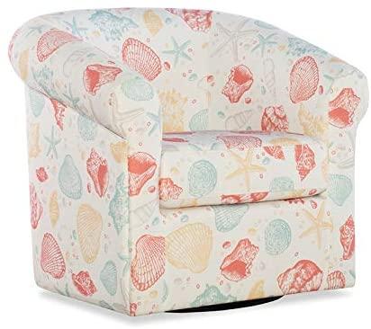 Powell Rhea Swivel Seashell Wood Upholstered Club Chair in Off-White