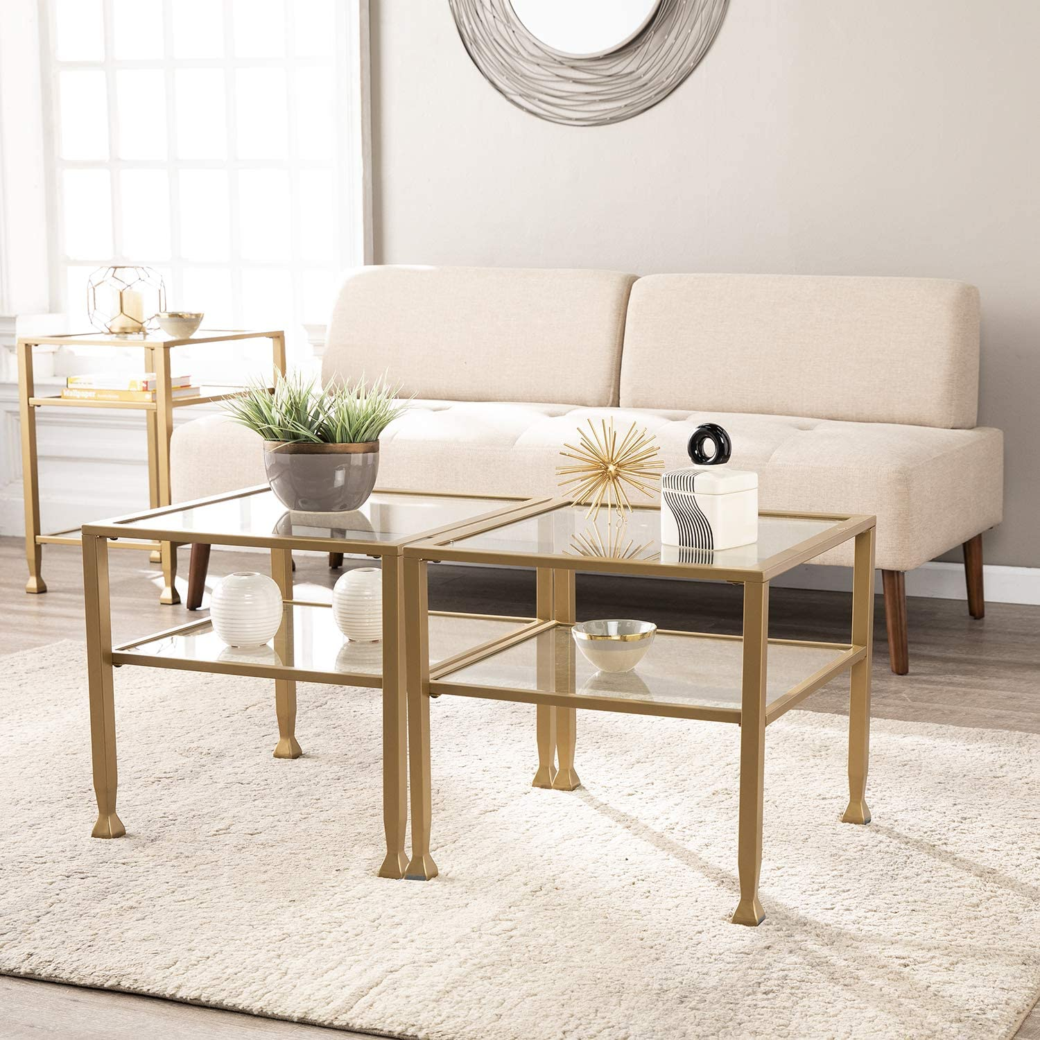 SEI Furniture Jaymes Metal & Glass 2-Tier Bunching Coffee Table, Square, Soft Gold