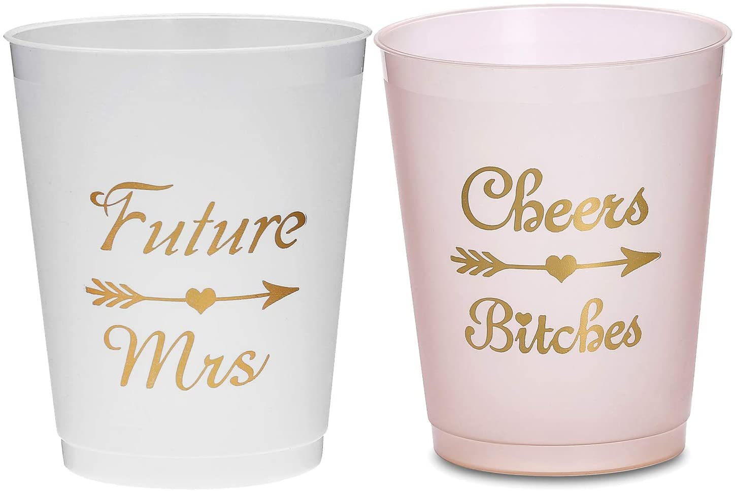 SFHMTL 17 Count 16 Oz Plastic Cups 1 Future Mrs Cup 16 Cheers Bitches Cups Bachelorette Party Decoration Bridal Shower Engagement Party Proposal Funny Friends Party Supplies (Champagne)