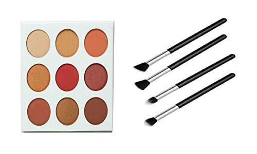 The Burgundy Palette by Duped + 4pcs Blending Beauty Eye Brush Set