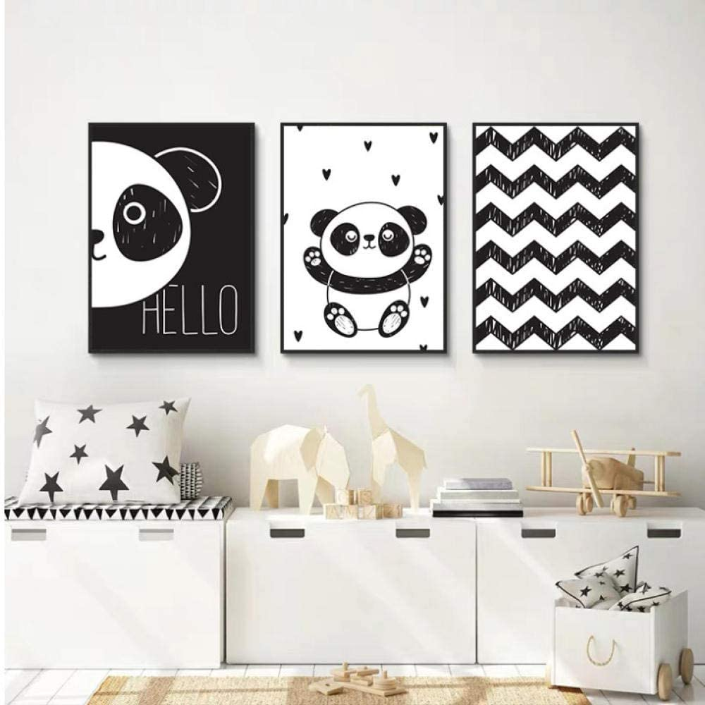 SHKQ Black White Animal Cute Panda Nursery Canvas Painting Line Abstract Child Poster and Print Nordic Picture Kid Baby Room Decor-40x60cmx3 No Frame
