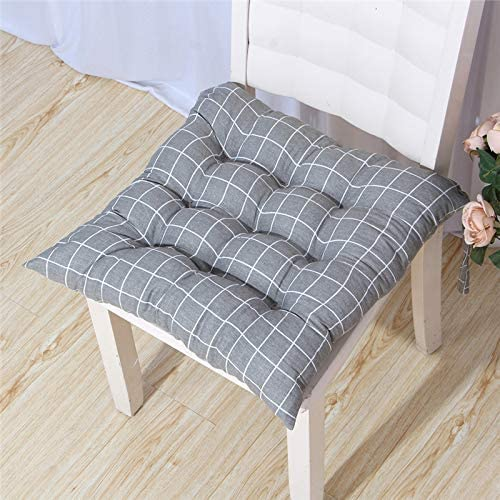 WEIZI Pack of 2 seat Cushions Chair Cushions Garden Chair Cushions Couch Cushions Back Cushions Low Back Cushions and Ties for Office Chair and at Home Soft Foam (Gray Grid 40 40)