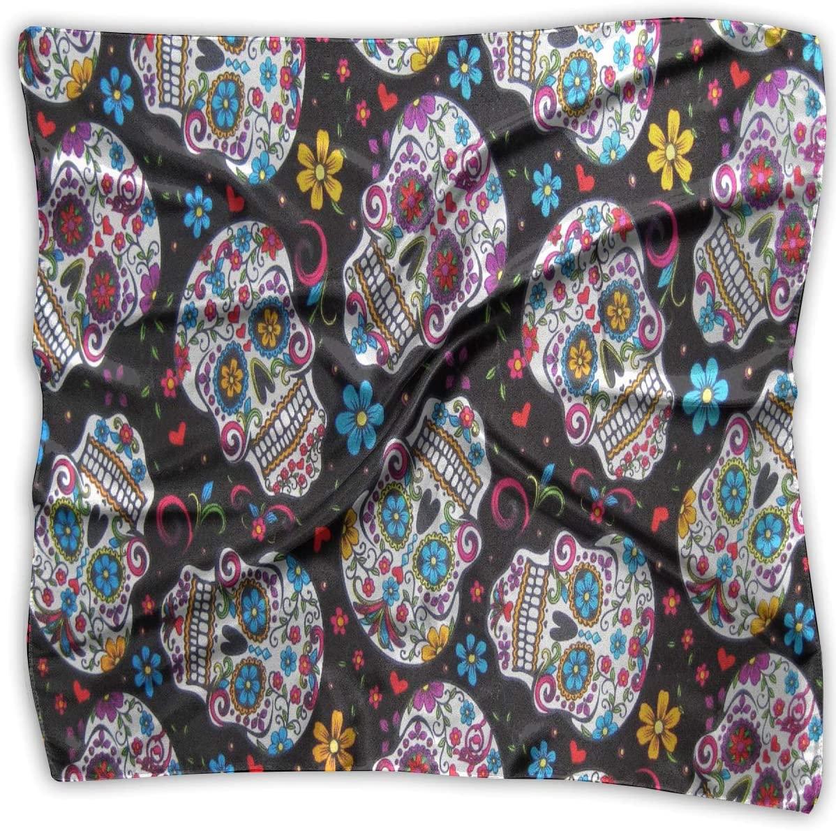 WFIRE Flowers Sugar Skull Square Handkerchiefs Scarf Shawl Bandanas Headscarf Neckerchief Tie Hair Scarf