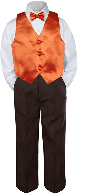 Leadertux 4pc Baby Toddler Boys Orange Vest Bow Tie Brown Pants Suit Outfits S-7