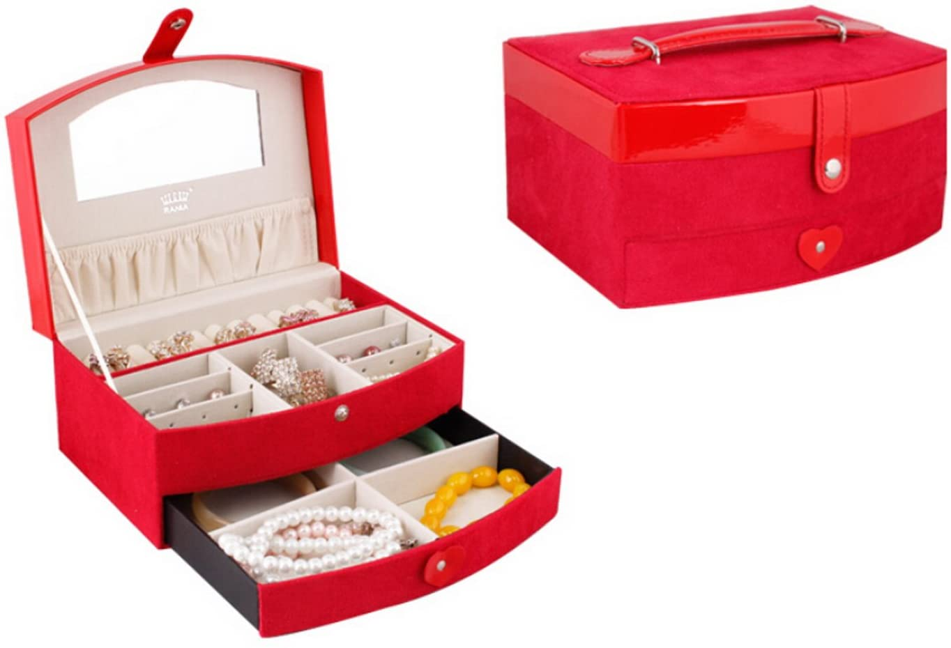 GIFT4U Elegant Two-Layer Lint+Leather Jewelry Box Organizer Case Storage with Lock Drawer Mirror Red