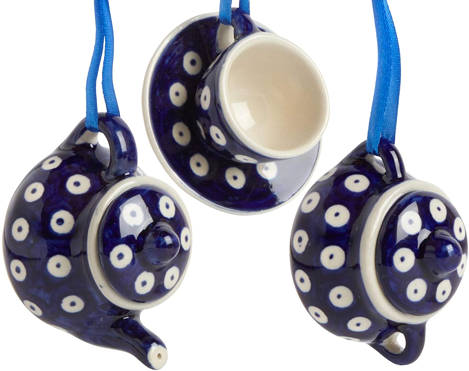Set of 3 Polish Pottery Blue Peacock Dot Teapot, Sugar Bowl & Cup with Saucer Coffee-Themed Handmade Ceramic Christmas Ornaments