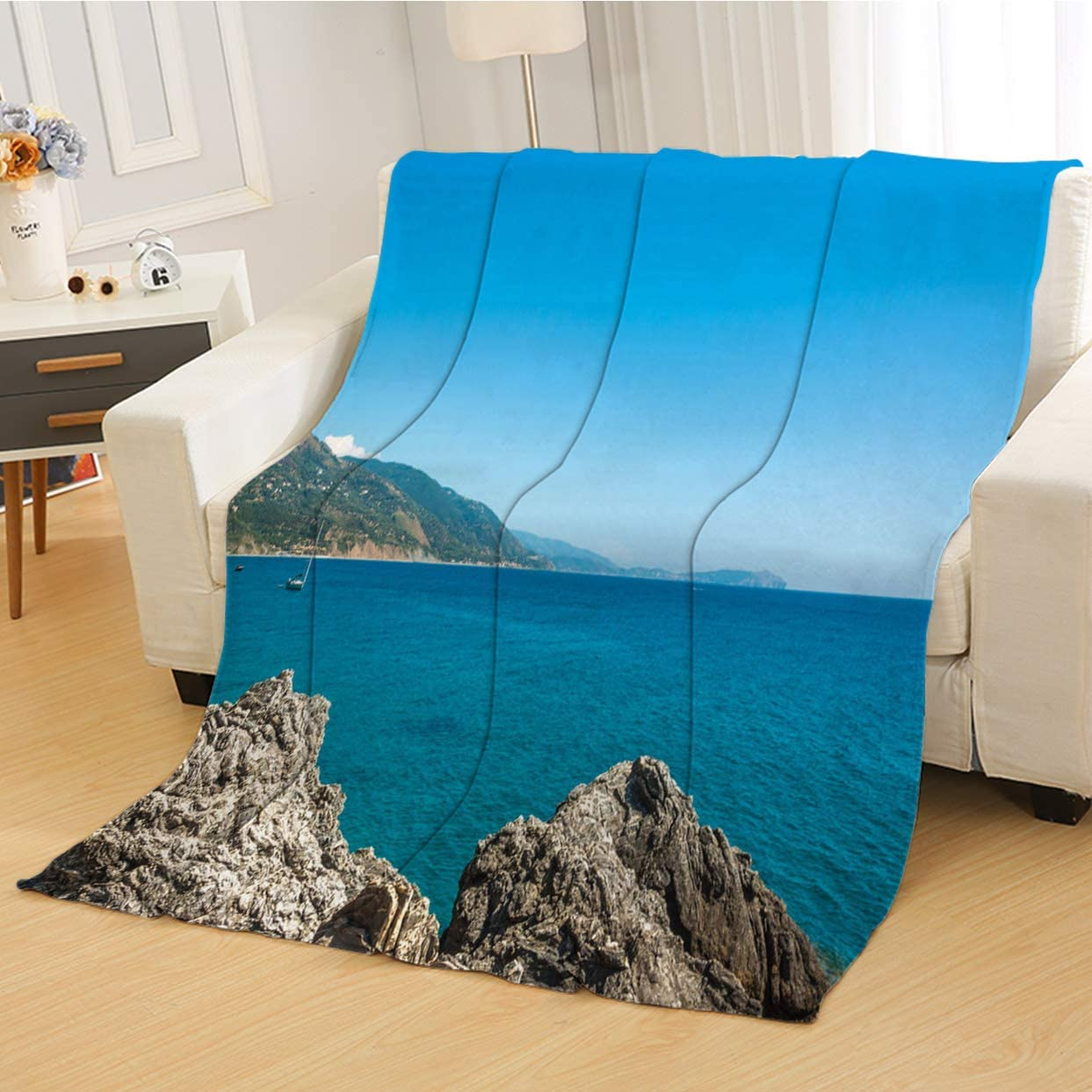 RLDSESS Summer Soft Baby Blanket, All Season Blanket,The Cilento Coastline at Summer Near Pisciotta Campania Italy,Soft Weighted Blanket,Baby Size: 31Wx47L inch