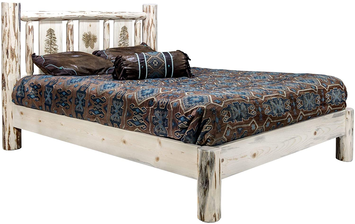 Montana Collection Queen Platform Bed w/Laser Engraved Pine Tree Design, Clear Lacquer Finish