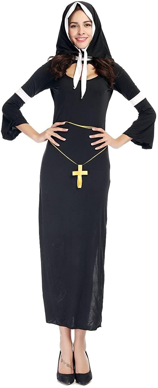 PINSE Halloween Nun Costume for Women Catholic Clothing Black