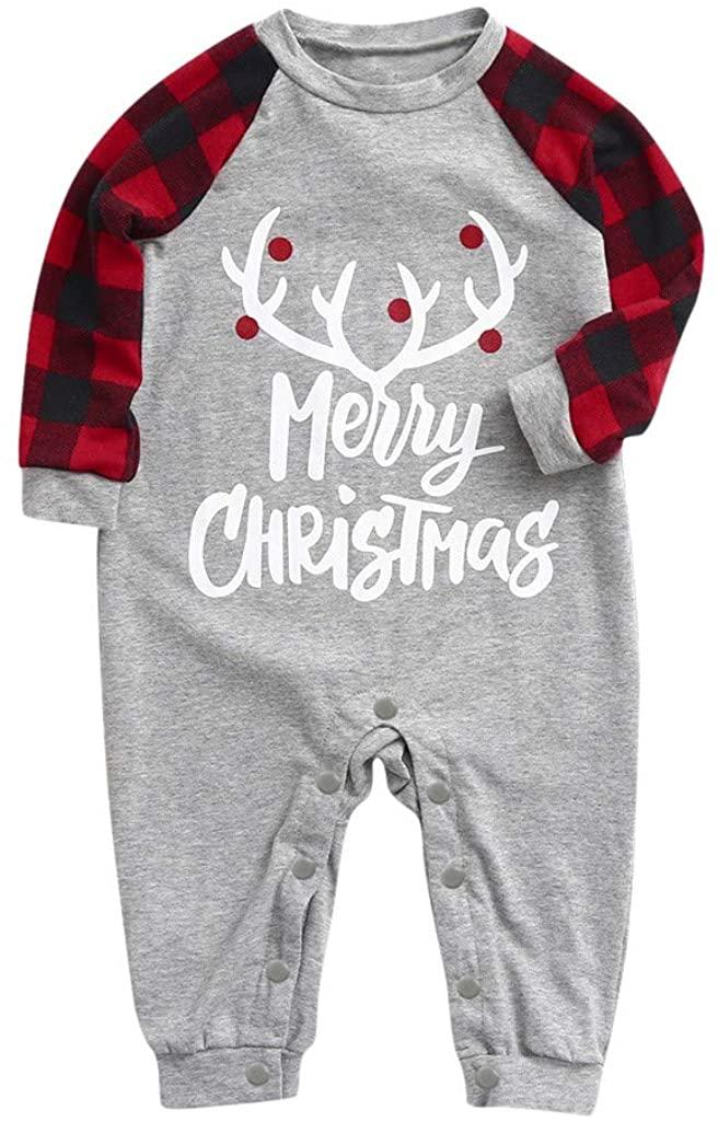 HeroHarold Baby Boys Girls Round Neck Jumpsuit Toddler Christmas Long Sleeve Plaid Printed Rompers Pajamas Home Wear
