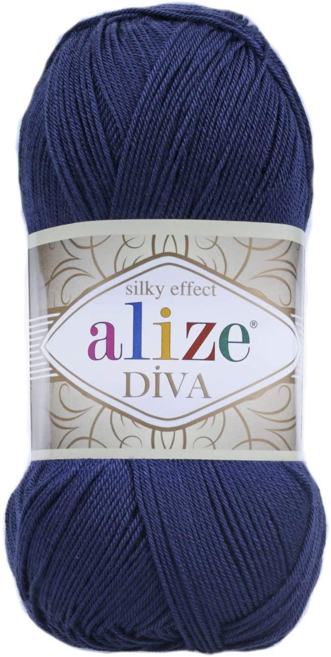 Hand Knitting Yarn 100% Microfiber Acrylic Yarn Alize Diva Silk Effect Thread Crochet Art Lace Craft Lot of 4 skeins 400gr 1532yds Color 361 Navy