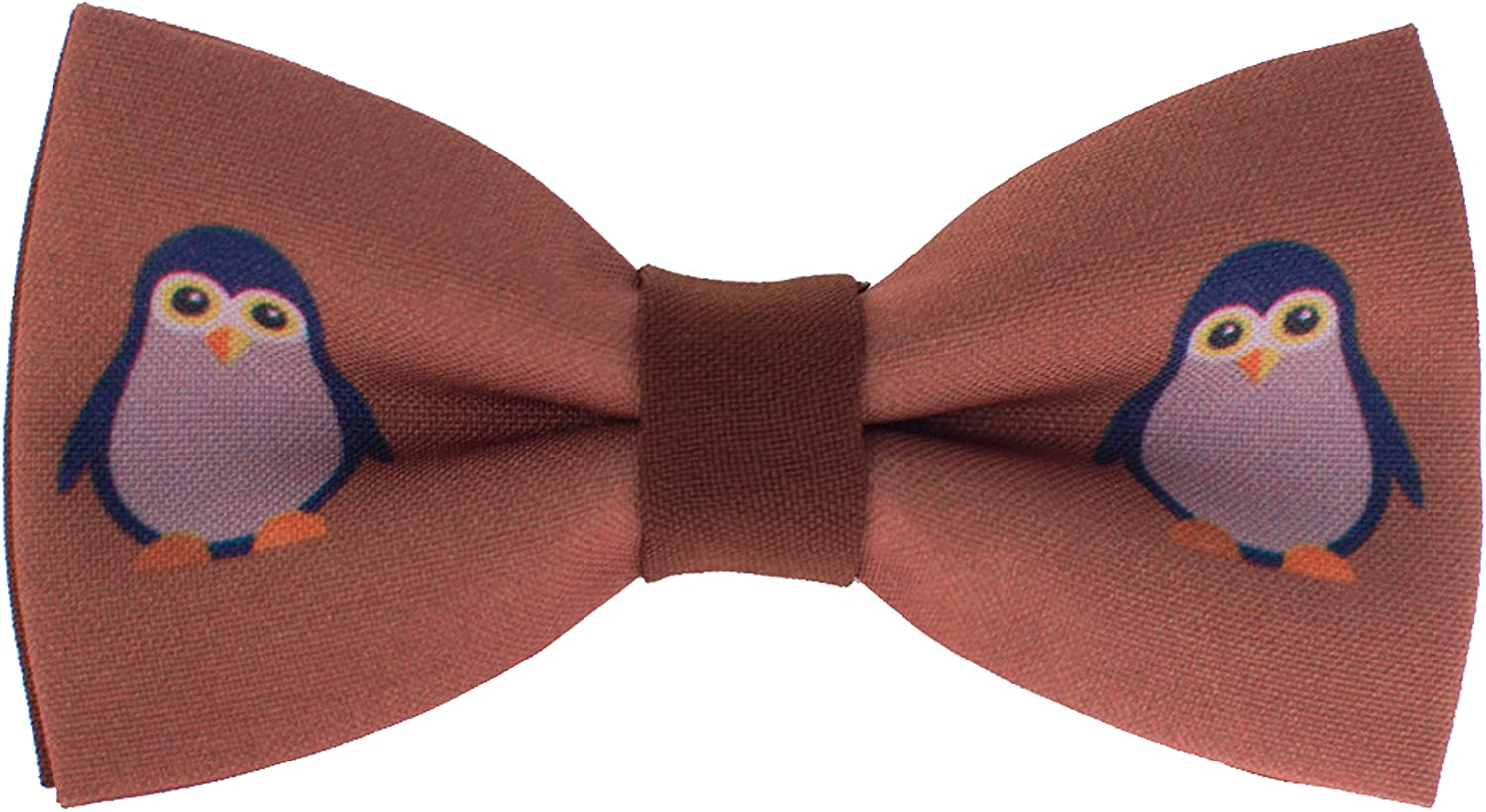 Brown Penguin bow tie unisex pattern pre-tied shape in many colors, by Bow Tie House