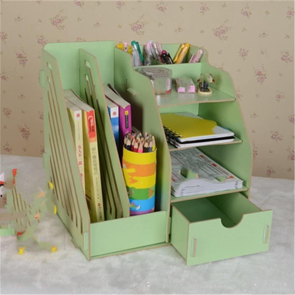 Creative Desktop Wooden Storage Box Office Drawer Storage Multifunctional Finishing Bookshelf,Green