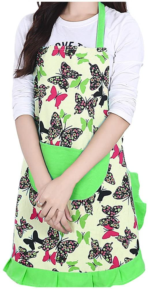 Lovely Fashion Kitchen Aprons Woman Girl Cupcake Shop Frilly Apron with Pocket, Green