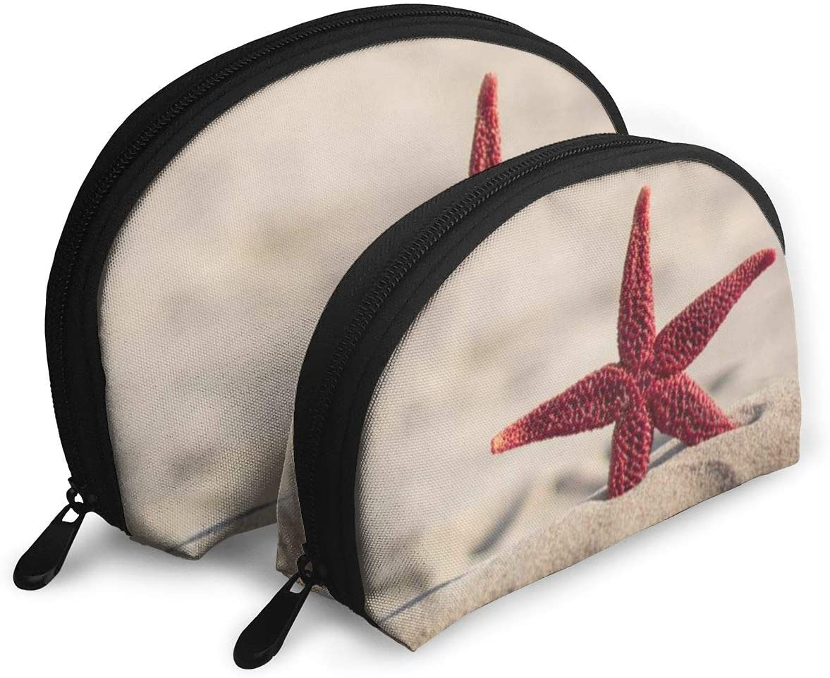 2Pcs Shell Makeup Bags Beach Starfish Travel Portable Toiletry Bags Small Makeup Clutch Pouch