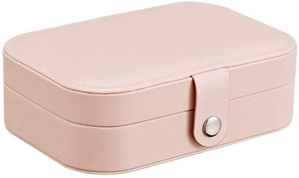 WILAIN Jewelry Storage Box Universal Travel Portable Jewelry Box Button Leather Storage Zipper Multifunctional Jewelry Storage Box (Color : Type 1 Pink)