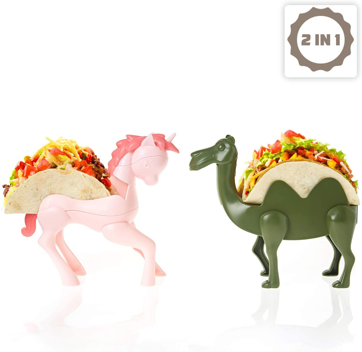 EASACE Animal Taco Holder for kids, Set of 2 Taco Stands, Holds Up to 2 Tacos Each Rack, Funny kid's Taco Plates, Dishwasher Safe, Perfect Gift for boys and girls (Unicorn & Camel)