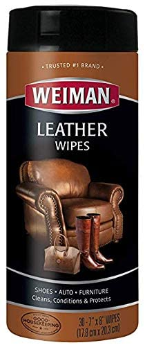 Weiman Wipes-Non Toxic Clean Condition UV Protection Help Prevent Cracking or Fading of Leather Couches, Car Seats, Shoes, Purses, Clear 30 Count (Limited Edition)