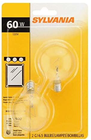 Sylvania G25 Crystal Clear Globe, 60-Watt, (E26) Value 4 Pack (Small Base)