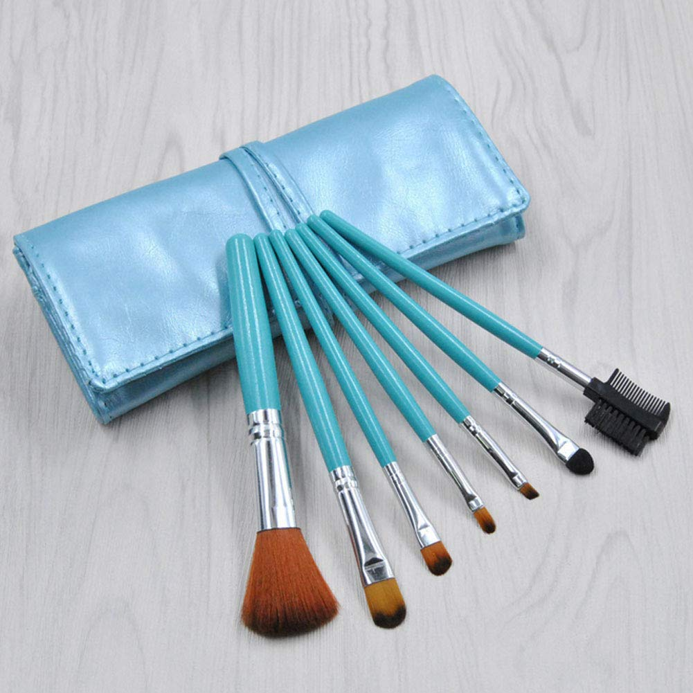 7 Pcs Blue Makeup Brushes with Pu Leather Bag Professional Cosmetics Powder Foundation Blusher Eyeshadow Make Up Brushes Makeup Tool