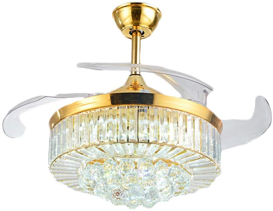 42inch Crystal Chandelier Ceiling Light LED - 4 Acrylic Automatic Retractable Crystal Fan Blade Ceiling Lamp for Living Room/Dining Room/Hall (Gold-1)