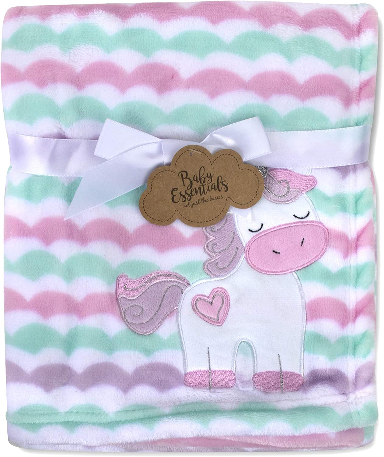 Baby Essentials Plush Fleece Throw and Receiving Baby Blankets for Boys and Girls (Striped Unicorn)
