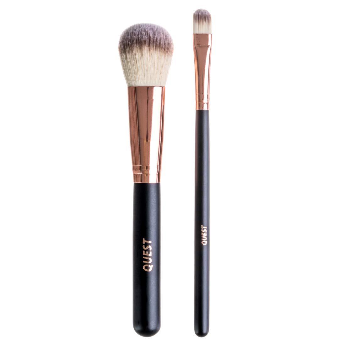 Professional 2-Piece Makeup Brush Set | 2-Piece Set with Travel Case | Makeup Brushes | Quest Skincare