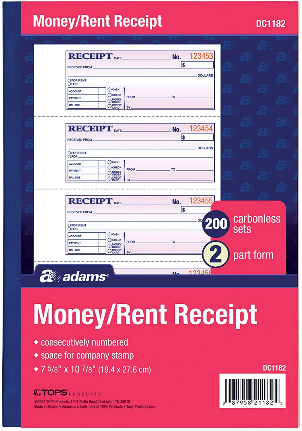 Adams Money and Rent Receipt Book, 2-Part, Carbonless, White/Canary, 7-5/8