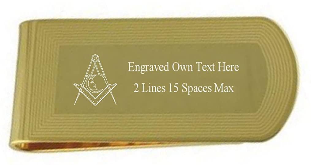 Junior Deacon Gold Engraved Masonic Money Clip with Engraved Keepsake Box