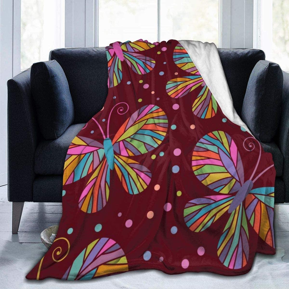 Micro Fleece Plush Soft Baby Blanket Burgundy Color Butterflies Fluffy Warm Toddler Bed/Crib Blanket Lightweight Flannel Daycare Nap Kids Sleeping Tummy Time Throw Blanket Girls Boy Clearance Kid/Baby